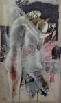 Complicité 146 x 89 tempéra sur monotypes marrouflés  sur toile brute