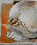 28 x 22 tempéra sur monotypes marrouflés sur toile de lin brute