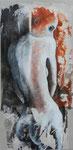 Hésitation 80 x 40 tempéra sur monotypes marrouflés sur toile de lin brute