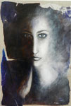 Par delà la pensée 55 x 38 tempéra sur monotypes marrouflés sur toile de lin brute