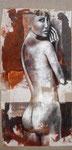 Eos 120 x 60 tempéra sur monotypes marrouflés sur toile brute