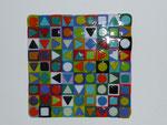 """""""BUNT1""""; Bullseyeglas opak, Format 27x27cm Full- und Tackfusing Preis: Fr. 500.--"""