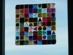 """""""BUNT2""""; Bullseyeglas transparent, Format 27x27cm Full- und Tackfusing Fr. 500.--"""