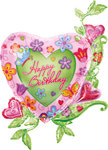 "Folienballon ""Happy Birthday Flowerheart"" - 100cm  €12,90"