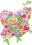 "Folienballon ""Happy Birthday Flowerheart"" - 100cm  € 14,90"