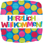 "Folienballon ""Herzlich Willkommen Polka Dots"" 35cm  -  € 5,90"