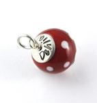 Glasperle 1,5cm Rot Weiss gepunktet mit Namen