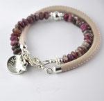 2-fach Armband mit Turmalin und Nappaleder, Plättli 1,3cm mit Namen und Wölbung