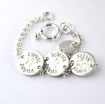 Armband Silber-Gliederkette mit 1,3cm Plättchen, mit Namen (Rückseite Geb.Datum/-Zeit)