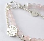Armband 2-fach, Silber-Gliederkette mit Armband Rosenquarzperlen 6mm