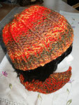 Loop in orange-oliv-braun Töne....nun mit passender Mütze im Grobstrick für kalte Tage....  (out)