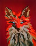 Fuchs, hergestellt aus Leder, aufgebracht auf einen roten Stoff , bespannt auf einer Holzplatte