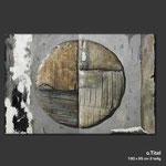 o.T. - Haptisches Bildobjekt in Acrylmischtechnik mit unterschiedlichen Materialien