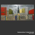 Stadtansichten - Holzrelief 4-teilig auf Tischlerplatte