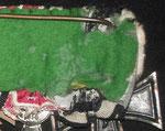 Typ XII: Wie Typ 1, die rosettenförmige Vernähung erfolgte relativ unsauber; die aus grasgrünen Filzstoff gehaltene Rückenabdeckung ist typisch für den Berliner Hesteller Robert Schulz (Berlin Wedding)