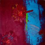 Florale Struktur, rot und blau