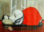 Vrouw op sofa acryl verkocht