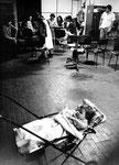 Roma, Settembre 1977 - Bambino in carrozzina nella fabbrica Italcolor occupata