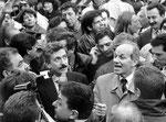 Roma, Novembre 1996 - Massimo D'Alema e Fausto Bertinotti alla manifestazione metalmeccanici