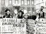 Roma, Dicembre 1985 - Manifestazione Radicali per la P2. Nella foto Francesco Rutelli,Giovanni Negri,Massimo Teodori