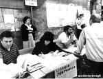 Roma, Giugno 1986 - Impiegati del comune in strada per mancanza di spazi