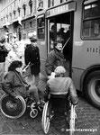 Roma, Dicembre 1990 - Manifestazione handicap contro barriere