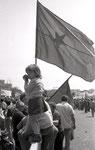 Roma,Maggio 1975 - Bambina alla manifestazione del 1° maggio
