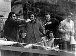 Roma,  Febbraio 1968 - Occupazione università La Sapienza, studenti di destra con bastoni e estintori