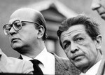 Roma, Maggio 1979 - Bettino Craxi e Enrico Berlinguer alla manifestazione per attentati alla Democrazia Cristiana