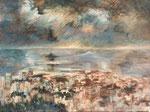 Orage sur Marseille                           Huile sur toile  30F