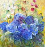 Hortensia bleu                   Huile sur toile                  90 x 90