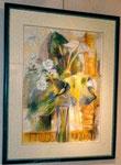 Bouquet jaune               aquarelle pastel    70x90