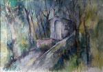 Scapini  La chapelle oubliée   aquarelle    70x100