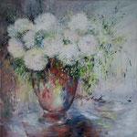 Les hortensias blancs d'Alexis   Huile sur toile  100x100