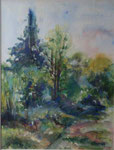 En forêt de Fontainebleau      aquarelle  68x82