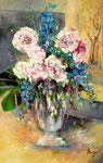 Grand bouquet aux pivoines   Huile sur toile