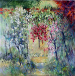 Porte aux rosiers                                   Huile sur toile  70x70