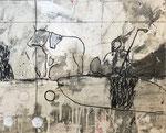 Philippe Croq, technique mixte sur toile-Galerie Gabel- Côte d'Azur