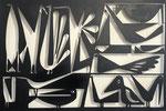 """Antonine de Saint Pierre, bas-relief oiseaux """"Birdiy 3"""" metal cutting  on painted wood panel. Galerie Gabel - Biot"""