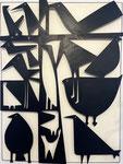 """Antonine de Saint Pierre, bas-relief oiseaux """"Birdies"""" 95X122X6cm, découpe de métal fixée sur panneau de bois peint. Galerie Gabel - Biot"""