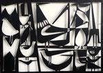 """Antonine de Saint Pierre, bas-relief oiseaux """"Birdies 2"""" metal cutting  on painted wood panel. Galerie Gabel - Biot"""