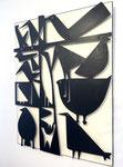 "Antonine de Saint Pierre, bas-relief oiseaux ""Birdy 1"" metal cutting  on painted wood panel. Galerie Gabel - Biot"