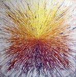 """Jérémy Besset, """"explosion"""" 130X130cm, acrylique sur toile, galerie Gabel, Biot, Côte d'Azur, France"""