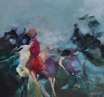 Clothilde Lasserre-huile et pastel sur toile 35X35cm 2017-Galerie Gabel-Biot-France