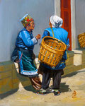 Bai women, SW China - Oil on board, 10 x 8 inches (25 x 20 cm).  Through Studio Sale Jan 2019