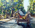 Ox cart, early morning, Pakistan - Oil on MDF, 8 x 10 inches (20 x 25 cm) - Private client