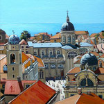 Dubrovnik domes - Oil, 8 x 8 inches.  Through exhibition 2019.