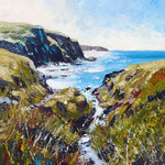 The stream runs down to the sea (Aber Draw, Pembrokeshire) - Acrylic on board, 12 x 12 inches. Private client