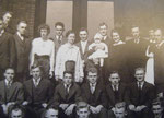 1916 or 1917 graduating class in front of men's dorm (closer up)