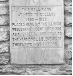 Hedding College bell at IWU (inscription)
